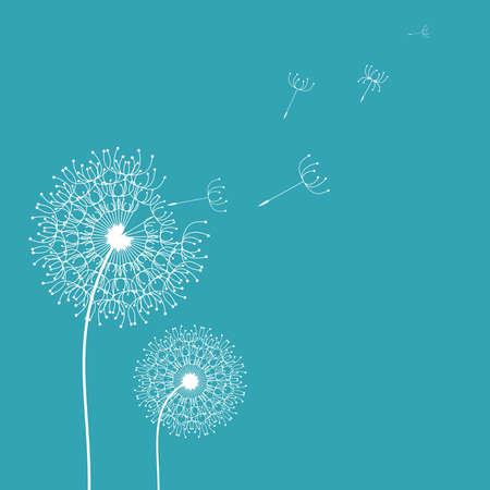 Dandelion in the wind background. Vector design Vector
