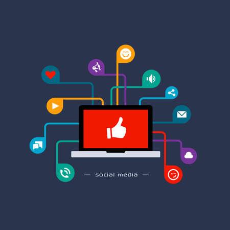 Social media concept. Flat style