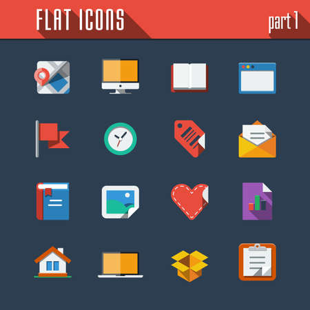 Communication and technology icons set. Flat design Vector