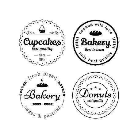 ベーカリーとカップケーキ ラベルのベクトルのデザイン