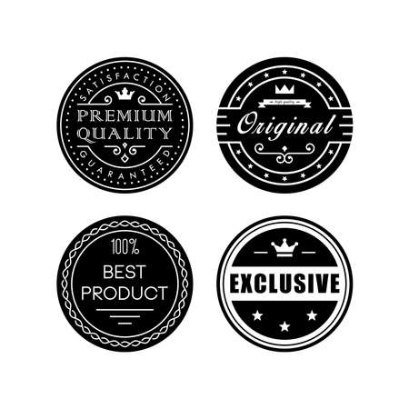 high quality: Retro badges against white background