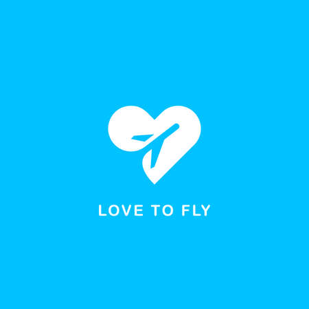 travel agency: Love to fly symbol Illustration