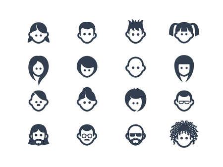 viso uomo: Icone avatar  Vettoriali