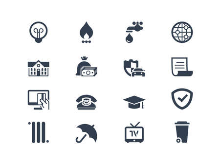 Bills to pay icons set isolated on white