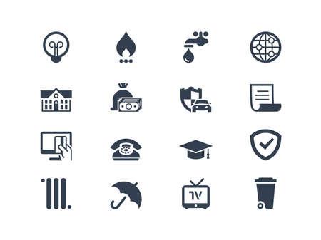 electricidad: Cuentas que pagar iconos conjunto aislado en blanco