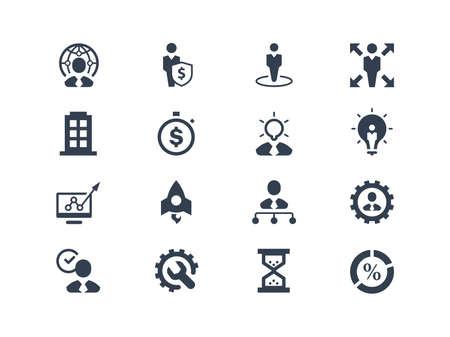 ビジネス: ビジネスおよび管理のアイコンを設定  イラスト・ベクター素材