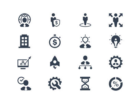gestion empresarial: Iconos de negocio y de gesti�n establecidos