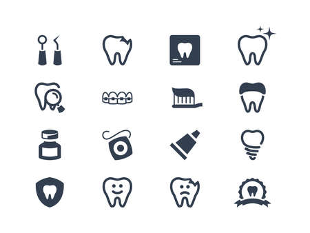 dental health: Set of dental icons isolated on white