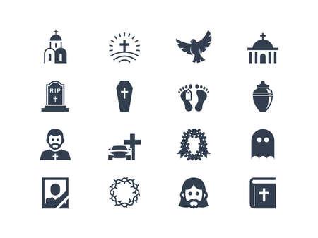 trumna: Ikony pogrzebowe Ilustracja