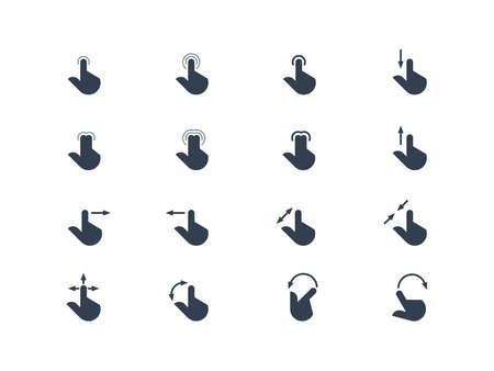 flèche double: Les mains et les gestes doigt de l'écran tactile