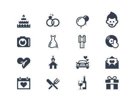 people in church: Wedding icons Illustration