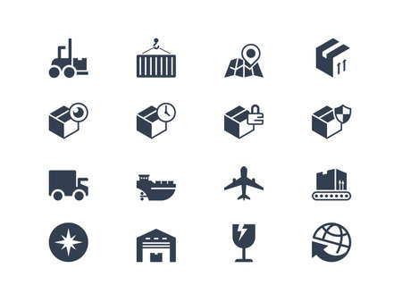 Logistic and shipping icons. Lyra series  イラスト・ベクター素材