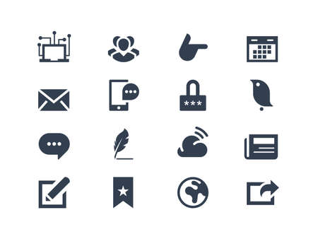 communication icons: Social and communication icons