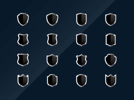 Set of glossy shields icons on dark background. The icons look great on any background Illustration