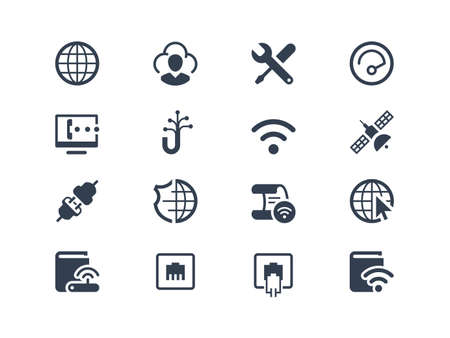 Internet service and internet provider icons set Illustration