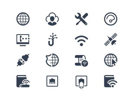 Zestaw usług internetowych oraz dostawcy Internetu ikony Ilustracje wektorowe