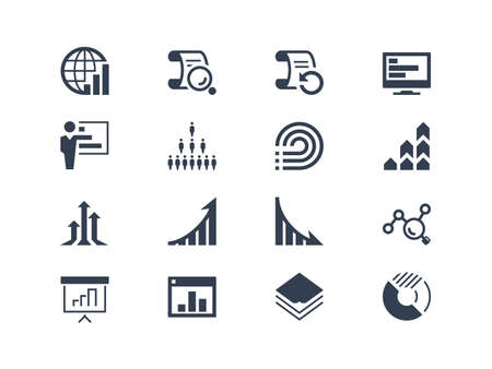 growth arrow: Statistics and report icons. Easy to edit and modify Illustration