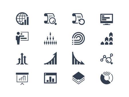 Statistieken en verslag iconen. Gemakkelijk te bewerken en te wijzigen Stock Illustratie