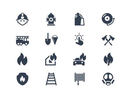 incendio casa: Bomberos iconos Vectores