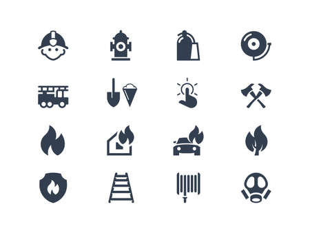 fire safety: Firefighters icons