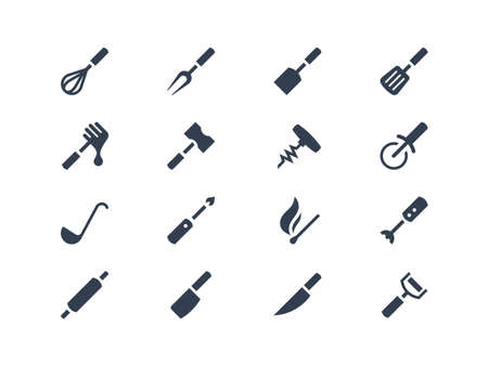 pin icon: Kitchen tools icons set