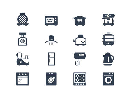 steam iron: Kitchen appliances icons Illustration
