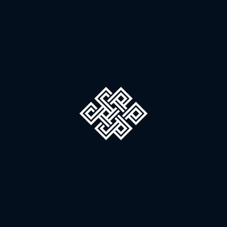 karma design: Infinite knot symbol on black background