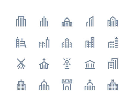 Buildings icons set. Line series