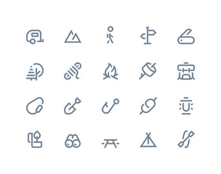 Camping icons set. Line series