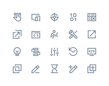 programer: Developer and programer icons. Line series