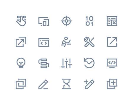 programer: Developer and programer icons. Line series