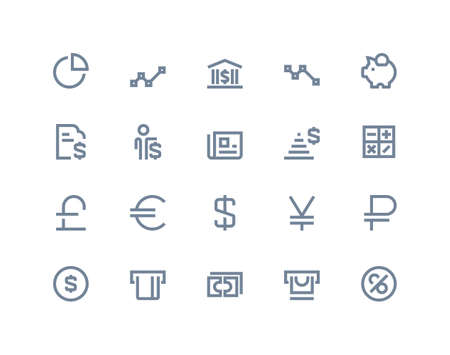 ios: Finance and bank icons set. Line series