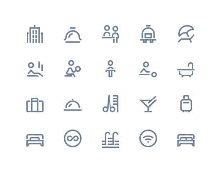 bulding: Hotel and travel icons set. Line series