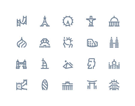 moai: Landmarks and places icons. Line series Illustration