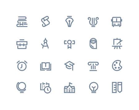 onderwijs: School en onderwijs iconen set. Line-serie