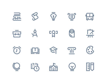 School and education icons set. Line series