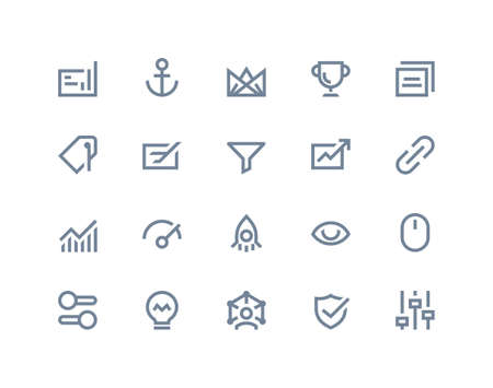 keywords link: Search optimization engine icons. Line series Stock Photo