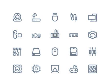icono ordenador: Componentes y establecer iconos. línea serie