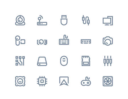 simple: Computer components icons set. Line series Illustration