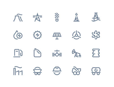 power generation: Petrol and power generation icons set. Line series Illustration