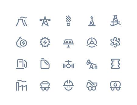 power generation: Petrol and power generation icons set. Line series Illustration