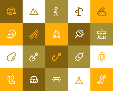 rope walker: Camping and outdor icons set. Flat style