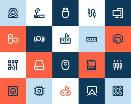 ram memory: Computer components icons set. Flat style