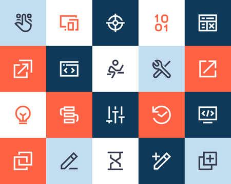 programing: Developing and programing icons. Flat style