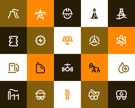 power generation: Power generation and oil industry icons set. Flat style