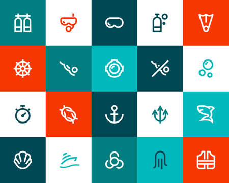 life jackets: Scuba diving icons set. Flat style Illustration
