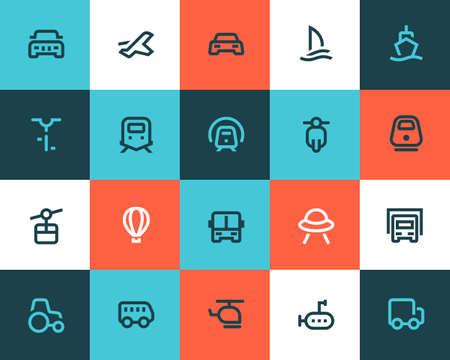 運輸: 交通圖標集。扁平風格
