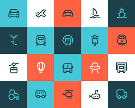 vehicle: Transportation icons set. Flat style
