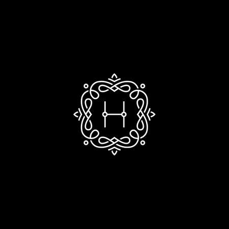 H monogram. Frame template