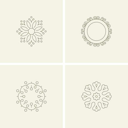 decorative frames: Abstract flower elements. Line style Illustration